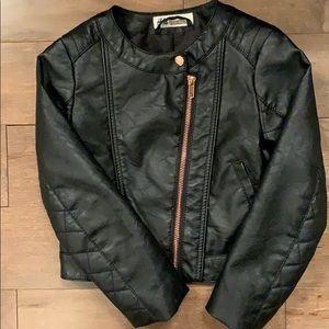 H&M girls black faux leather jacket